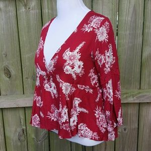American Rag Rusty/Brick Red Floral Blouse NEW